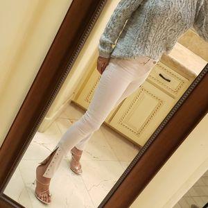 Hudson mid-rise pink skinny jeans, Sz 25
